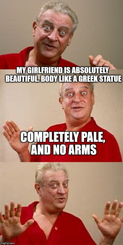 My girlfriend is a Greek Statue | MY GIRLFRIEND IS ABSOLUTELY BEAUTIFUL. BODY LIKE A GREEK STATUE COMPLETELY PALE, AND NO ARMS | image tagged in memes,bad pun dangerfield,body,greek,statue,arms | made w/ Imgflip meme maker