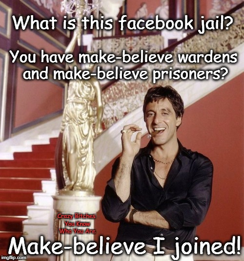 What is this facebook jail? Crazy B**ches You Know Who You Are You have make-believe wardens and make-believe prisoners? Make-believe I join | image tagged in scarface,jail | made w/ Imgflip meme maker
