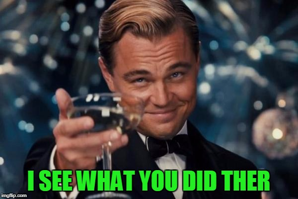 Leonardo Dicaprio Cheers Meme | I SEE WHAT YOU DID THER | image tagged in memes,leonardo dicaprio cheers | made w/ Imgflip meme maker