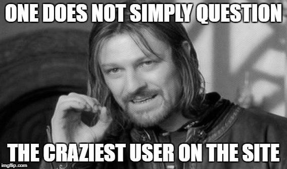ONE DOES NOT SIMPLY QUESTION THE CRAZIEST USER ON THE SITE | made w/ Imgflip meme maker