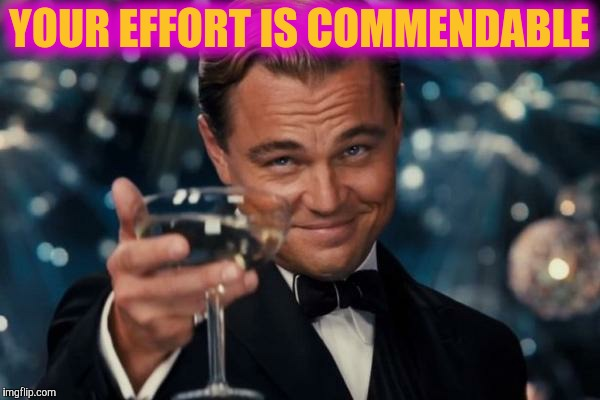 Leonardo Dicaprio Cheers Meme | YOUR EFFORT IS COMMENDABLE | image tagged in memes,leonardo dicaprio cheers | made w/ Imgflip meme maker