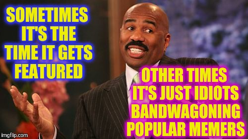 Steve Harvey Meme | SOMETIMES IT'S THE TIME IT GETS FEATURED OTHER TIMES IT'S JUST IDIOTS BANDWAGONING POPULAR MEMERS | image tagged in memes,steve harvey | made w/ Imgflip meme maker
