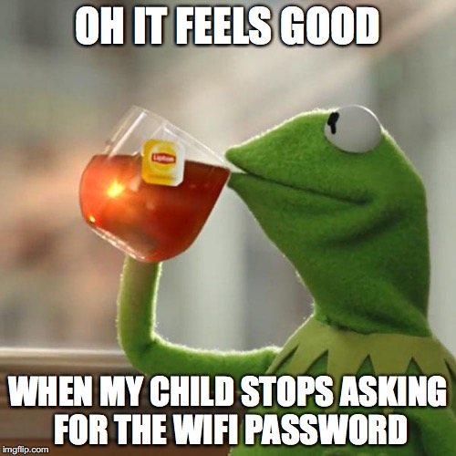 But Thats None Of My Business Meme | OH IT FEELS GOOD WHEN MY CHILD STOPS ASKING FOR THE WIFI PASSWORD | image tagged in memes,but thats none of my business,kermit the frog | made w/ Imgflip meme maker