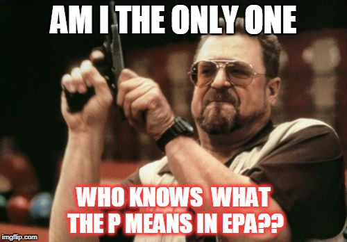 Am I The Only One Around Here Meme | AM I THE ONLY ONE WHO KNOWS  WHAT THE P MEANS IN EPA?? | image tagged in memes,am i the only one around here | made w/ Imgflip meme maker