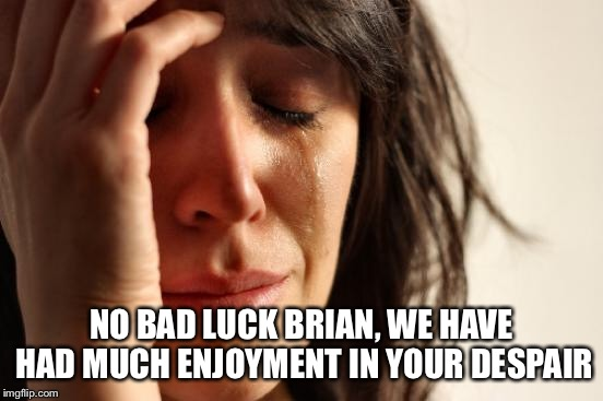 First World Problems Meme | NO BAD LUCK BRIAN, WE HAVE HAD MUCH ENJOYMENT IN YOUR DESPAIR | image tagged in memes,first world problems | made w/ Imgflip meme maker