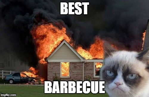 Burn Kitty Meme | BEST BARBECUE | image tagged in memes,burn kitty,grumpy cat | made w/ Imgflip meme maker