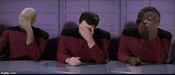 Picard, Riker, Worf Triple Facepalm | image tagged in picard,riker,worf triple facepalm | made w/ Imgflip meme maker