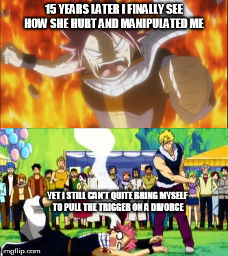 Suckiest roller coaster EVER. | 15 YEARS LATER I FINALLY SEE HOW SHE HURT AND MANIPULATED ME YET I STILL CAN'T QUITE BRING MYSELF TO PULL THE TRIGGER ON A DIVORCE | image tagged in memes,natsu fired up/beaten,divorce,malignant narcissism,domestic abuse | made w/ Imgflip meme maker