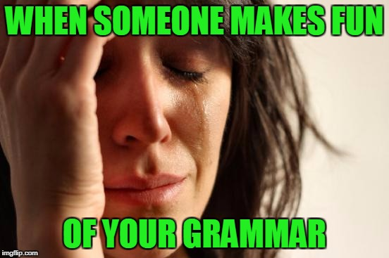 First World Problems Meme | WHEN SOMEONE MAKES FUN OF YOUR GRAMMAR | image tagged in memes,first world problems | made w/ Imgflip meme maker