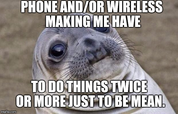 Awkward Moment Sealion Meme | PHONE AND/OR WIRELESS MAKING ME HAVE TO DO THINGS TWICE OR MORE JUST TO BE MEAN. | image tagged in memes,awkward moment sealion | made w/ Imgflip meme maker