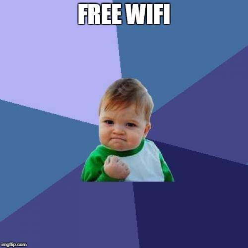 Success Kid Meme | FREE WIFI | image tagged in memes,success kid | made w/ Imgflip meme maker