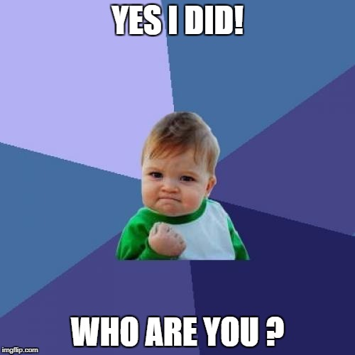 Success Kid Meme | YES I DID! WHO ARE YOU ? | image tagged in memes,success kid | made w/ Imgflip meme maker
