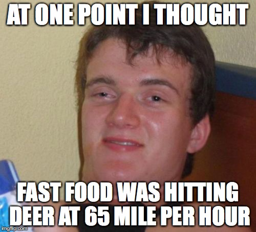 10 Guy Meme | AT ONE POINT I THOUGHT FAST FOOD WAS HITTING DEER AT 65 MILE PER HOUR | image tagged in memes,10 guy,funny | made w/ Imgflip meme maker
