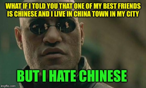 Matrix Morpheus Meme | WHAT IF I TOLD YOU THAT ONE OF MY BEST FRIENDS IS CHINESE AND I LIVE IN CHINA TOWN IN MY CITY BUT I HATE CHINESE | image tagged in memes,matrix morpheus | made w/ Imgflip meme maker