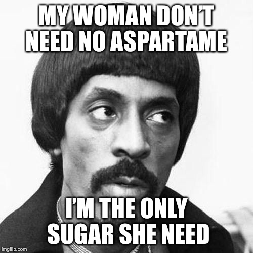 ike turner | MY WOMAN DON'T NEED NO ASPARTAME I'M THE ONLY SUGAR SHE NEED | image tagged in ike turner | made w/ Imgflip meme maker