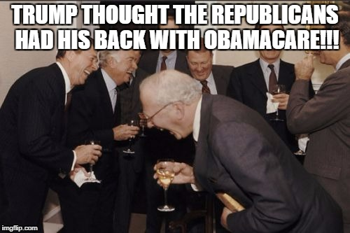 Laughing Men In Suits Meme | TRUMP THOUGHT THE REPUBLICANS HAD HIS BACK WITH OBAMACARE!!! | image tagged in memes,laughing men in suits | made w/ Imgflip meme maker