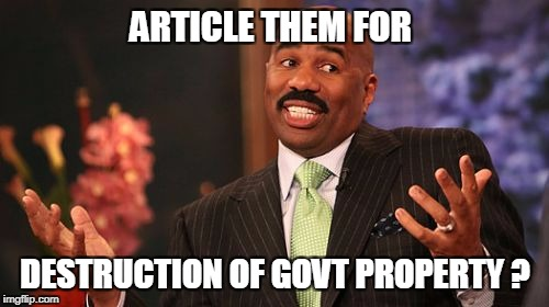 Steve Harvey Meme | ARTICLE THEM FOR DESTRUCTION OF GOVT PROPERTY ? | image tagged in memes,steve harvey | made w/ Imgflip meme maker