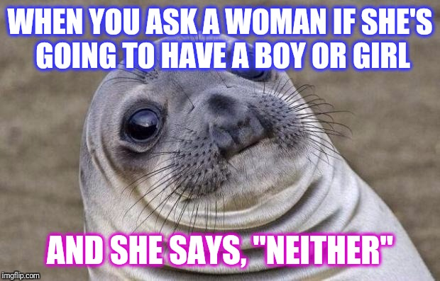 "Awkward Moment Sealion Meme | WHEN YOU ASK A WOMAN IF SHE'S GOING TO HAVE A BOY OR GIRL AND SHE SAYS, ""NEITHER"" 