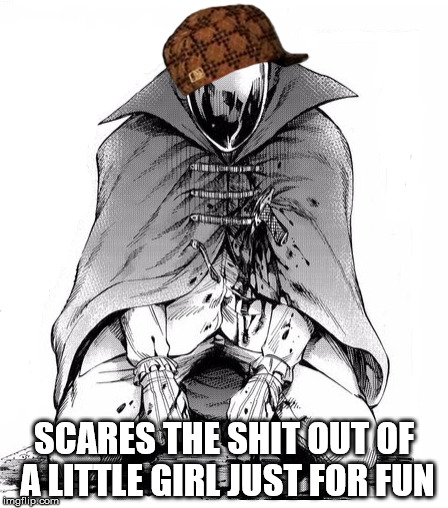 Scumbag Mirror Man | SCARES THE SHIT OUT OF A LITTLE GIRL JUST FOR FUN | image tagged in attack on titan | made w/ Imgflip meme maker