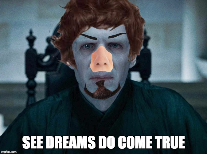 SEE DREAMS DO COME TRUE | image tagged in harry potter,lord voldemort | made w/ Imgflip meme maker