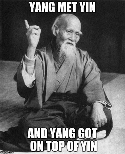 Confucius say | YANG MET YIN AND YANG GOT ON TOP OF YIN | image tagged in confucius say | made w/ Imgflip meme maker