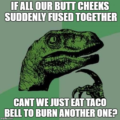 Philosoraptor Meme | IF ALL OUR BUTT CHEEKS SUDDENLY FUSED TOGETHER CANT WE JUST EAT TACO BELL TO BURN ANOTHER ONE? | image tagged in memes,philosoraptor | made w/ Imgflip meme maker