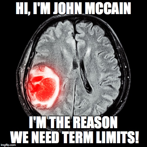 John McCains reasoning center | HI, I'M JOHN MCCAIN I'M THE REASON WE NEED TERM LIMITS! | image tagged in memes,tumor,john mccain,political meme | made w/ Imgflip meme maker