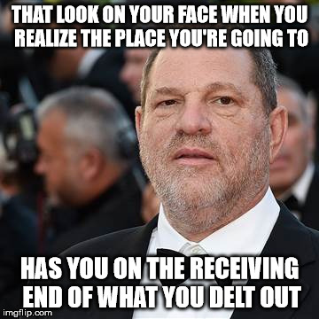 That Look On Your Face | THAT LOOK ON YOUR FACE WHEN YOU REALIZE THE PLACE YOU'RE GOING TO HAS YOU ON THE RECEIVING END OF WHAT YOU DELT OUT | image tagged in weinstein,meme | made w/ Imgflip meme maker