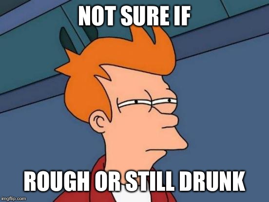 Futurama Fry Meme | NOT SURE IF ROUGH OR STILL DRUNK | image tagged in memes,futurama fry | made w/ Imgflip meme maker