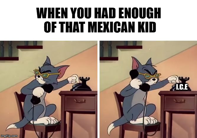 WHEN YOU HAD ENOUGH OF THAT MEXICAN KID I.C.E | image tagged in tom and jerry snitch | made w/ Imgflip meme maker