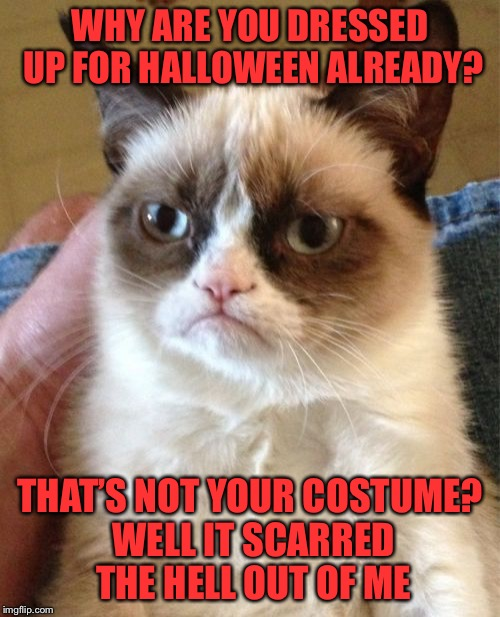 Have a Grumpy Halloween | WHY ARE YOU DRESSED UP FOR HALLOWEEN ALREADY? THAT'S NOT YOUR COSTUME? WELL IT SCARRED THE HELL OUT OF ME | image tagged in memes,grumpy cat,halloween,costume,you look awful | made w/ Imgflip meme maker