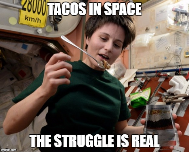 TACOS IN SPACE THE STRUGGLE IS REAL | image tagged in tacos in space | made w/ Imgflip meme maker