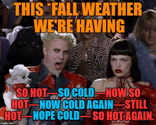 Mother Nature... make up your mind! | THIS *FALL WEATHER WE'RE HAVING SO HOT—SO COLD—NOW SO HOT—NOW COLD AGAIN—STILL HOT—NOPE COLD— SO HOT AGAIN. SO COLD NOW COLD AGAIN NOPE COLD | image tagged in memes,mugatu so hot right now,fall,weather,first world problems,funny | made w/ Imgflip meme maker