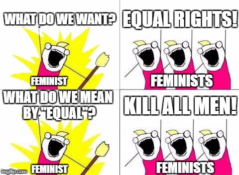 "What Do We Want Meme | WHAT DO WE WANT? EQUAL RIGHTS! WHAT DO WE MEAN BY ""EQUAL""? KILL ALL MEN! FEMINIST FEMINISTS FEMINIST FEMINISTS 