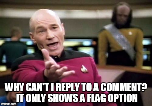 Picard Wtf | WHY CAN'T I REPLY TO A COMMENT? IT ONLY SHOWS A FLAG OPTION | image tagged in memes,picard wtf | made w/ Imgflip meme maker