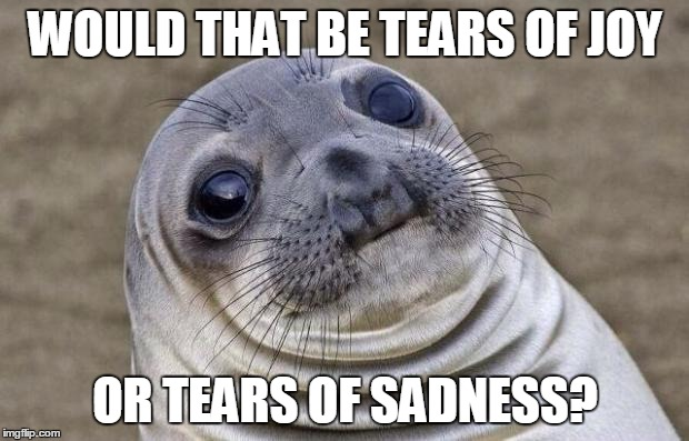 Awkward Moment Sealion Meme | WOULD THAT BE TEARS OF JOY OR TEARS OF SADNESS? | image tagged in memes,awkward moment sealion | made w/ Imgflip meme maker
