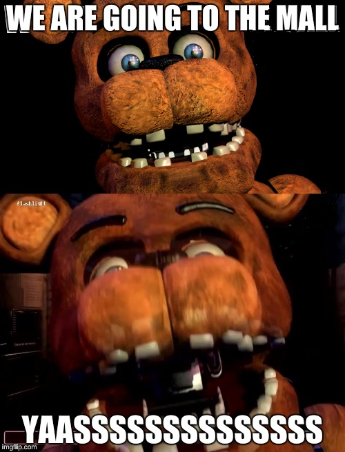 Girls be like: | WE ARE GOING TO THE MALL YAASSSSSSSSSSSSSS | image tagged in memes,fnaf | made w/ Imgflip meme maker