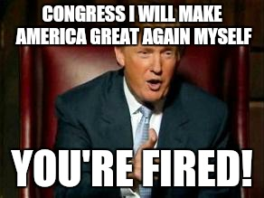 Donald Trump | CONGRESS I WILL MAKE AMERICA GREAT AGAIN MYSELF YOU'RE FIRED! | image tagged in donald trump | made w/ Imgflip meme maker