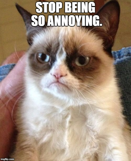 Grumpy Cat Meme | STOP BEING SO ANNOYING. | image tagged in memes,grumpy cat | made w/ Imgflip meme maker