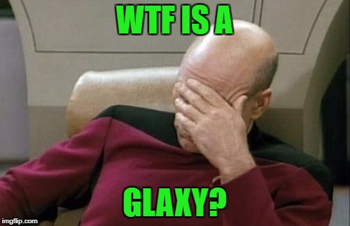 Captain Picard Facepalm Meme | WTF IS A GLAXY? | image tagged in memes,captain picard facepalm | made w/ Imgflip meme maker