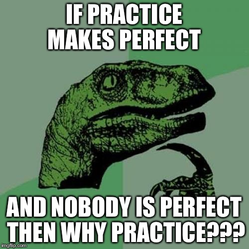 Philosoraptor Meme | IF PRACTICE MAKES PERFECT AND NOBODY IS PERFECT THEN WHY PRACTICE??? | image tagged in memes,philosoraptor | made w/ Imgflip meme maker