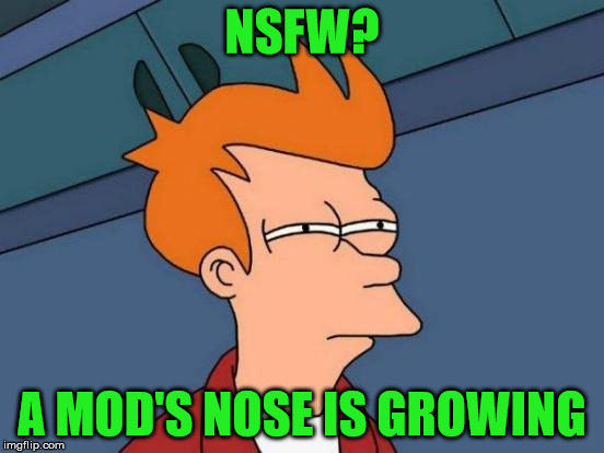 Futurama Fry Meme | NSFW? A MOD'S NOSE IS GROWING | image tagged in memes,futurama fry | made w/ Imgflip meme maker