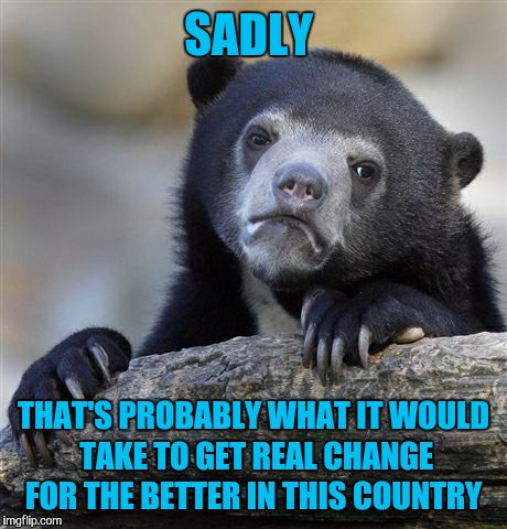 Confession Bear Meme | SADLY THAT'S PROBABLY WHAT IT WOULD TAKE TO GET REAL CHANGE FOR THE BETTER IN THIS COUNTRY | image tagged in memes,confession bear | made w/ Imgflip meme maker