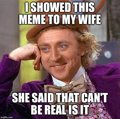 Creepy Condescending Wonka Meme | I SHOWED THIS MEME TO MY WIFE SHE SAID THAT CAN'T BE REAL IS IT | image tagged in memes,creepy condescending wonka | made w/ Imgflip meme maker
