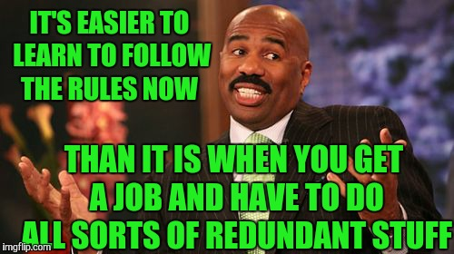 Steve Harvey Meme | IT'S EASIER TO LEARN TO FOLLOW THE RULES NOW THAN IT IS WHEN YOU GET A JOB AND HAVE TO DO ALL SORTS OF REDUNDANT STUFF | image tagged in memes,steve harvey | made w/ Imgflip meme maker