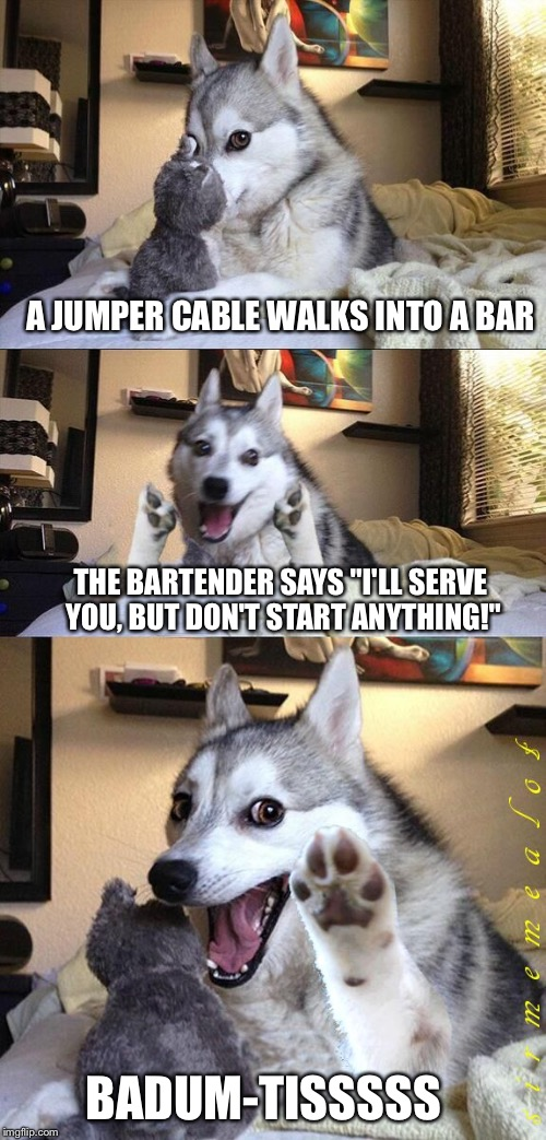 "Bad Pun Dog | A JUMPER CABLE WALKS INTO A BAR THE BARTENDER SAYS ""I'LL SERVE YOU, BUT DON'T START ANYTHING!"" BADUM-TISSSSS 