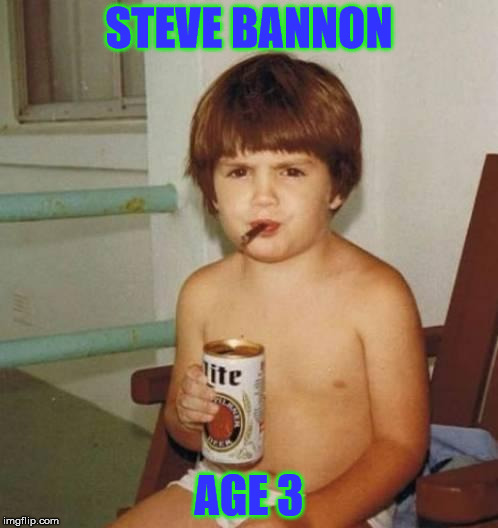 They grow up so fast! | STEVE BANNON AGE 3 | image tagged in steve bannon,drunk kid,kid,funny,memes | made w/ Imgflip meme maker
