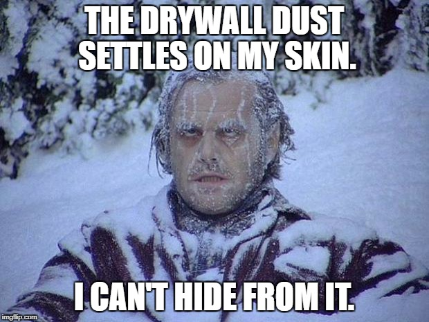 Jack Nicholson The Shining Snow Meme | THE DRYWALL DUST SETTLES ON MY SKIN. I CAN'T HIDE FROM IT. | image tagged in memes,jack nicholson the shining snow | made w/ Imgflip meme maker