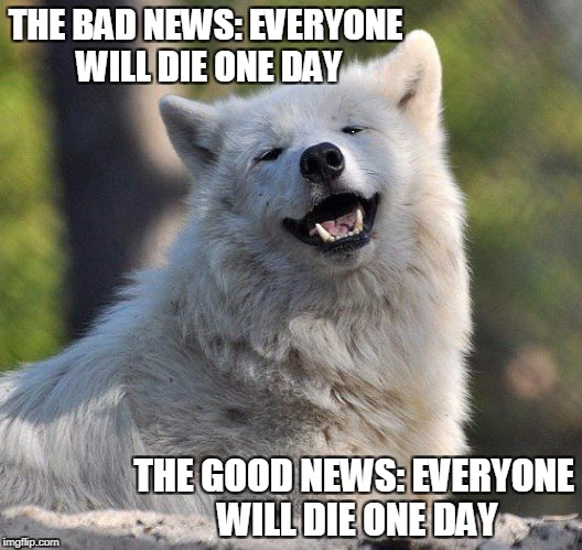 THE BAD NEWS: EVERYONE WILL DIE ONE DAY THE GOOD NEWS: EVERYONE WILL DIE ONE DAY | image tagged in supersecretwolf | made w/ Imgflip meme maker