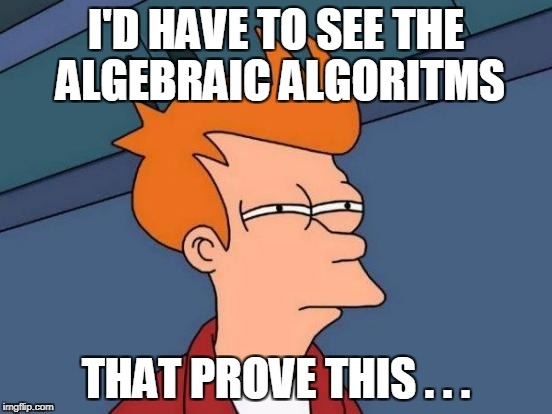 Futurama Fry Meme | I'D HAVE TO SEE THE ALGEBRAIC ALGORITMS THAT PROVE THIS . . . | image tagged in memes,futurama fry | made w/ Imgflip meme maker